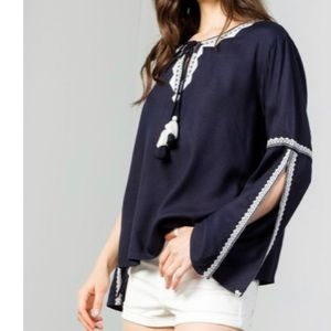 50% OFF NAVY BELL SLEEVE TOP WITH EMBROIDERY